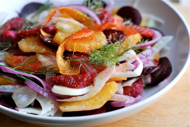 Fennel, Beet and Blood Orange Salad with Red Onions